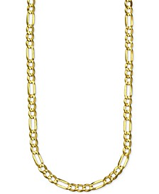 """Figaro Link 24"""" Chain Necklace in 14k Gold"""