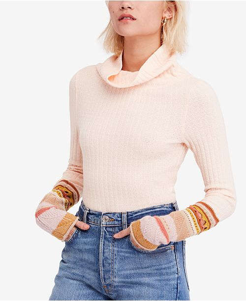 a5b4fbff611 Free People Mixed-Up-Cuff Thermal Top   Reviews - Tops - Women ...