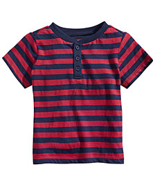 First Impressions Baby Boys Striped Cotton Henley T-Shirt, Created for Macy's