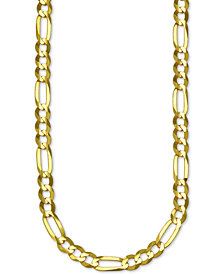 "Italian Gold Figaro Link 28"" Chain Necklace in 14k Gold"