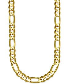 "Italian Gold Figaro Link 30"" Chain Necklace in 14k Gold"