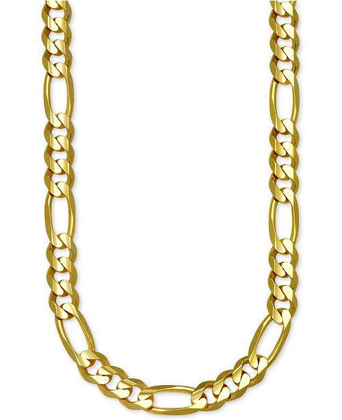 """Italian Gold Figaro Link 22"""" Chain Necklace in 14k Gold"""