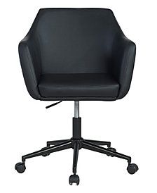 Upholstered Faux Leather Office Chair, Black