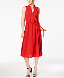 Anne Klein Split-Neck Drawstring-Waist Dress