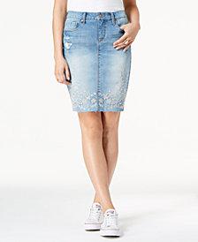 Vintage America Clarissa Embroidered Denim Skirt