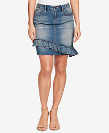 Vintage America Rena Ruffled Denim Skirt