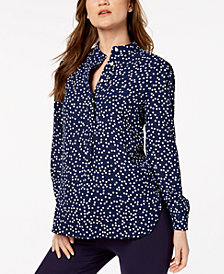 Anne Klein Dot-Print High-Neck Blouse