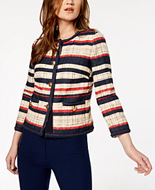 Anne Klein Braid-Trimmed Striped Jacket