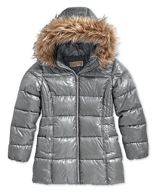 57952aca1a7ce ... Michael Kors Big Girls Hooded Stadium Jacket with Faux-Fur Trim ...