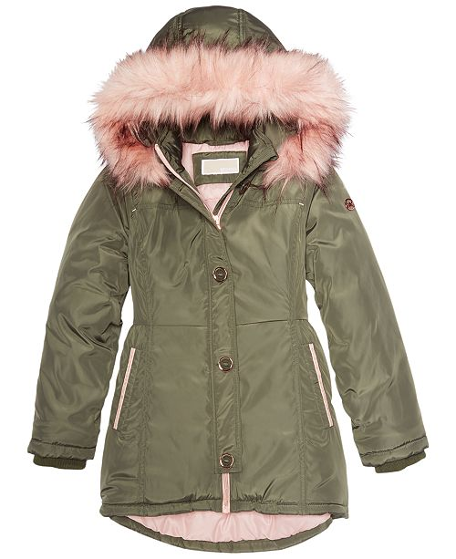5bf6f23c5153 Michael Kors Big Girls Hooded Jacket with Faux-Fur Trim & Reviews ...