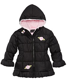 S. Rothschild Toddler Girls Embroidered Hooded Puffer Jacket