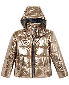 S. Rothschild Big Girls Hooded Metallic Puffer Jacket