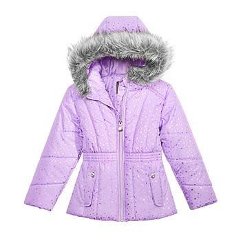S Rothschild & CO Little Girls Printed Puffer Jacket with Faux-Fur Trim