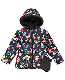 S. Rothschild Little Girls Hooded Printed Jacket with Mittens