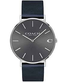 COACH Men's Charles Midnight Navy Leather Strap Watch 41mm, Created for Macy's