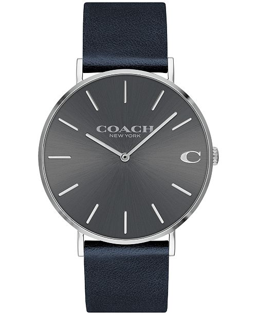 dc60a5aa84a92 ... COACH Men s Charles Midnight Navy Leather Strap Watch 41mm