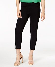 Bar III Pull-On Studded Fringed-Cuff Pants, Created for Macy's