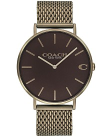 COACH Men's Charles Khaki Stainless Steel Mesh Bracelet Watch 36mm, Created for Macy's