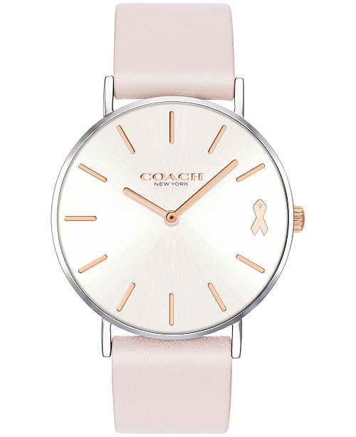 COACH Women's Perry Created for Macy's Ice Pink Leather Strap Watch 36mm