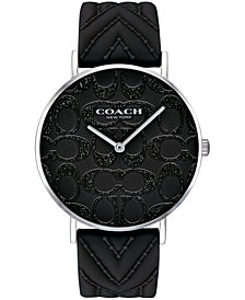 COACH Women's Perry Created for Macy's Black Silicone Strap Watch 36mm