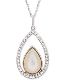 "Mother-of-Pearl & White Topaz (1/4 ct. t.w.) Teardrop 18"" Pendant Necklace in Sterling Silver"