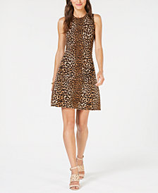 MICHAEL Michael Kors Leopard-Print Sweater Dress, In Regular & Petite Sizes