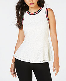 Thalia Sodi Lace Striped Trim Top, Created for Macy's