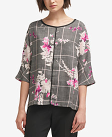 DKNY Contrast-Trim Printed Top, Created for Macy's