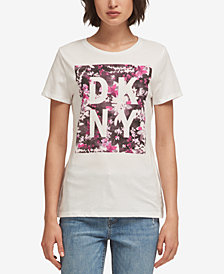 DKNY Floral Print Logo T-Shirt, Created for Macy's