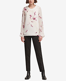 DKNY Tie-Sleeve Top, Created for Macy's