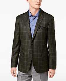Tallia Men's Big & Tall Slim-Fit Hunter Green Windowpane Wool Sport Coat