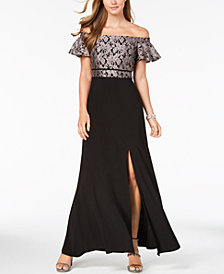 Nightway Petite Off-The-Shoulder Lace Gown