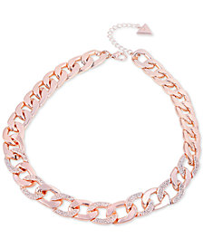 "GUESS Pavé Link Collar Necklace, 16"" + 2"" extender"
