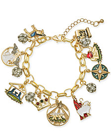 Charter Club Gold-Tone Crystal, Stone & Epoxy Holy Christmas Story Charm Bracelet, Created for Macy's