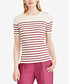 Lauren Ralph Lauren Short-Sleeve Striped Sweater