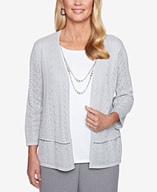 Alfred Dunner Pointelle Layered-Look Necklace Top