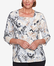 Alfred Dunner Classics Geo-Print Embellished Top