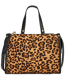 I.N.C. Remmey Leopard-Print Satchel, Created for Macy's