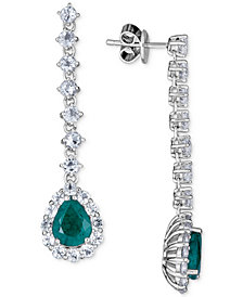 Emerald (4 ct. t.w.) and White Topaz (4 ct. t.w.) Drop Earrings, Set in Sterling Silver