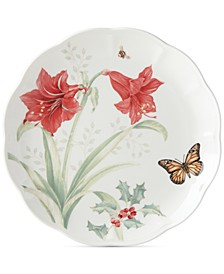 Butterfly Meadow Holiday Dinner Plate  Amaryllis and Sprigs of Berry Design