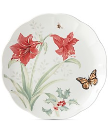 Lenox Butterfly Meadow Holiday Dinner Plate  Amaryllis and Sprigs of Berry Design
