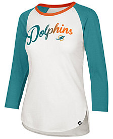 '47 Brand Women's Miami Dolphins Splitter Ombre Raglan T-Shirt