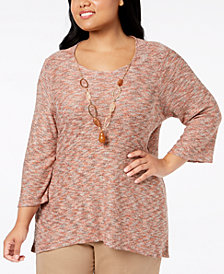 Alfred Dunner Plus Size Sunset Canyon Space Dye Necklace Tunic