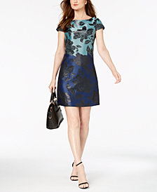 Vince Camuto Colorblocked Floral-Print Dress