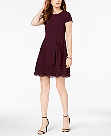 Jessica Howard Petite Lace-Trim Fit & Flare Dress