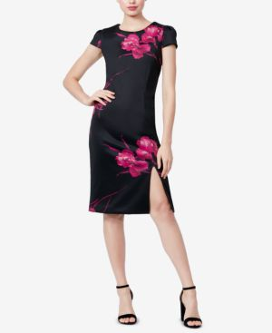 BETSEY JOHNSON Floral Cap-Sleeve Body-Con Dress in Black/Pink