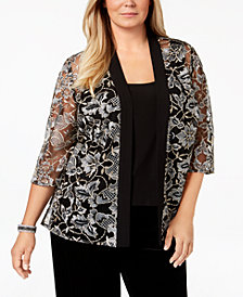 Alex Evenings Plus Size Embroidered Jacket & Top Set