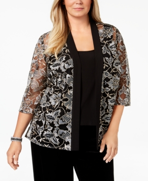 1920s Style Blouses, Shirts, Sweaters, Cardigans Alex Evenings Plus Size Embroidered Jacket  Shell $159.00 AT vintagedancer.com