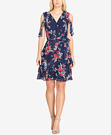 Tahari Floral-Print Ruffled Fit-And-Flare Dress