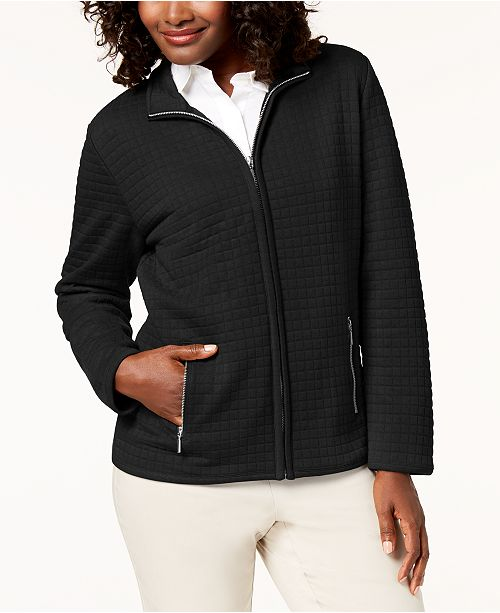 Karen Scott Sport Quilted Fleece Zip Jacket, Created for Macy's